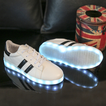 2017 Shining 7 Colors Luminous casual LED Shoes Men With Lighted for Adults Light Up Shoes led Unisex Glowing USB Charging Shoes