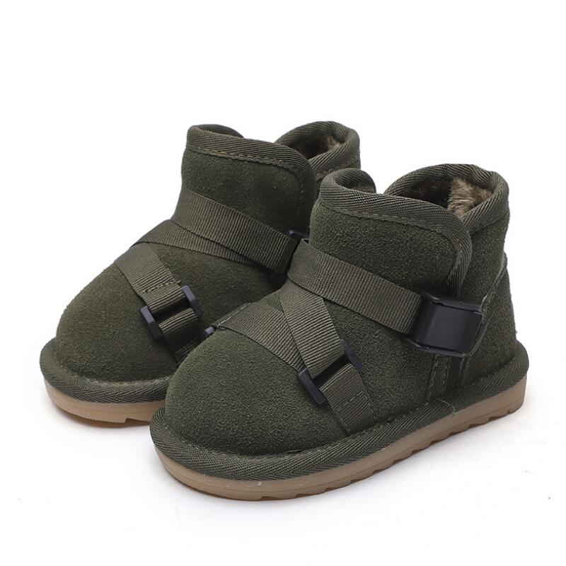 Winter children's leather snow boots girls 2018 new fashion baby cotton shoes casual plus velvet thick warm baby boots size21 30