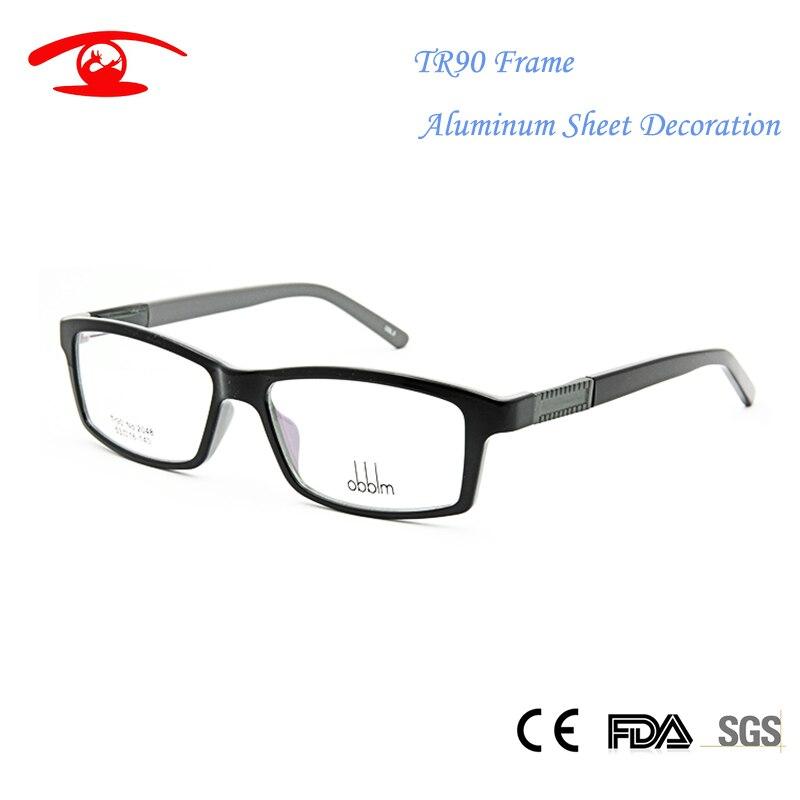 new tr90 flexible memory glasses aluminum sheet for women men unisex square frame factory direct eyeglasses prescription lens