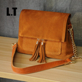 2017 Women Genuine Leather Fringe Shoulder Bags Fashion Cow Suede Leather Tassel Brown Chain Multi Pockets Crossbody Bucket Bags