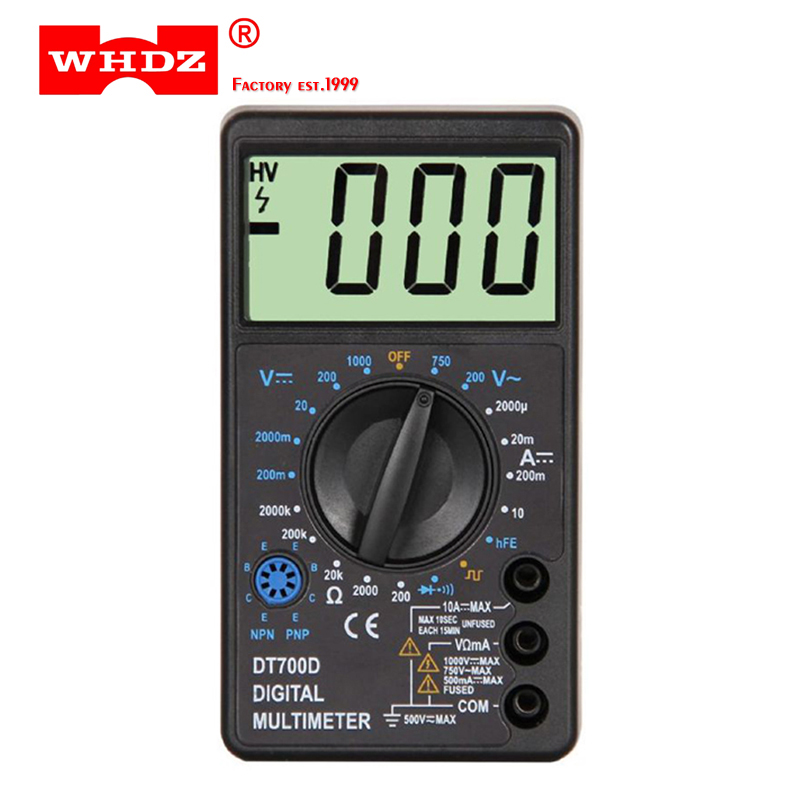WHDZ DT-700D Mini Large Screen Digital Multimeter Buzzer Overload Protection Square Wave Output Voltmeter Ampere Ohm Tester