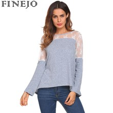 FINEJO Women Casual Lace Mesh Patchwork T Shirt 2018 New Spring Fashion Round Neck Back Lace up Loose tshirt Tops Basic Sexy Tee
