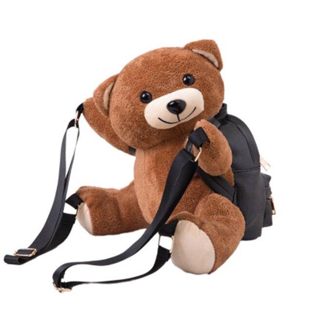 Women Backpacks Bags Girls Fashion Leather Backpack Teddy Bear Backpack Women School Bag Fmous Brand Bag BP0089