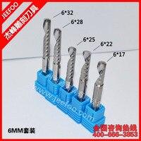 5pcs Set 6mm Solid Carbide single Flute Spiral Bit / Arcylic Tool A series