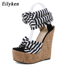 Eilyken 2019 New Designer Cotton Fabric Summer Roman Sandals High Quality Wedges High Heels Sexy Peep-Toe Platform Shoes Woman 8