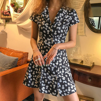 MRMT 2019 Brand New Women's Dress Small Daisy Lapel Single Breasted Floral Dress for Female Short Sleeve Slim Dress Tshirt