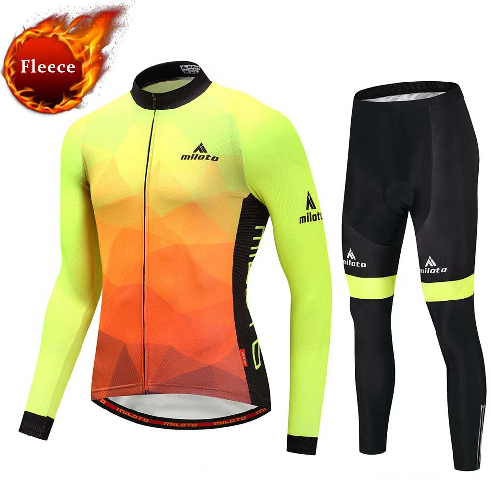 Fluorescent Yellow Winter Fleece Cycling Jerseys & Trousers Sets Thermal Team Long Sleeve MTB Bike Cycle Clothing Sets nika jump winter sport yellow