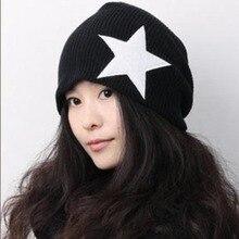 Fashion Pentacle Star Warm Skull Beanie Hip Hop Crochet Knit Cap Cuff Winter Hats For Women Men Gorros Mujer Invierno 7AA731