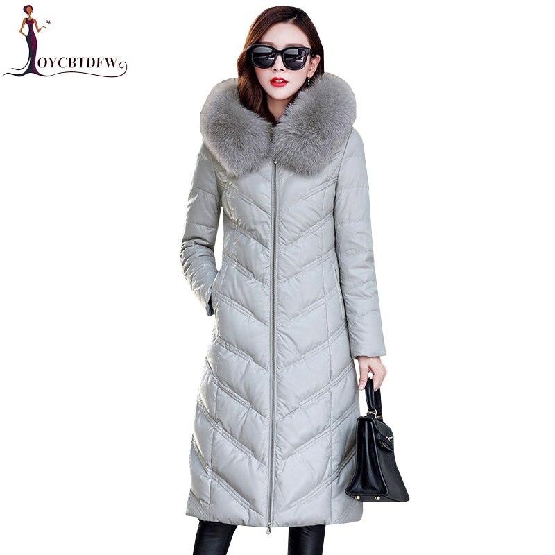 Для женщин пояса из натуральной кожи куртка пуховое пальто 2018 большой размеры 5xl Модные женские зимние Лисий меховой воротник тонки