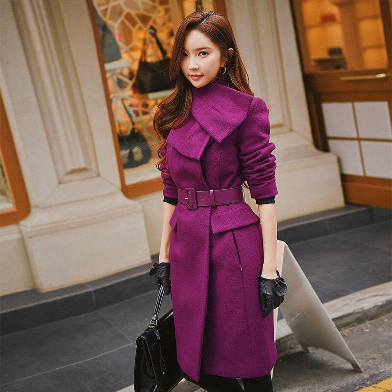 Dabuwawa Purple Women Winter Elegant Wool long Coats 2018 New Warm Thick Scarf Collar Belted Lapel Big Girl Outwear Coat