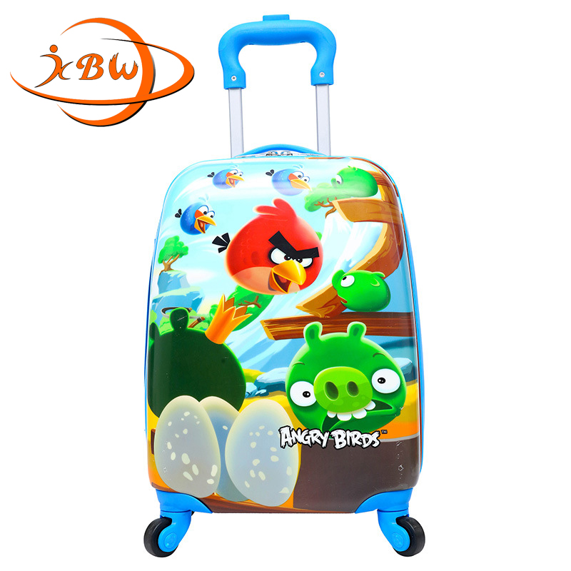 JKBW ABS+PC 18 Inch Rolling Luggage Spinner Kids Luggages New Cartoon Pattern Trolley Suitcase Wheels for Girls Boys travel