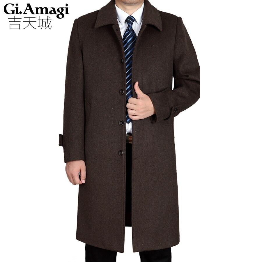 Hommes de manteaux en laine Vestes Automne Hiver manteau de cachemire Hommes Épais Revers Mi D'âge Hommes de Cachemire Long Manteau