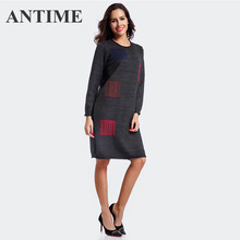 e104ad69a ANTIME ropa de mujer O cuello otoño manga larga recta sólida vestidos  Casual nueva combinación suéter