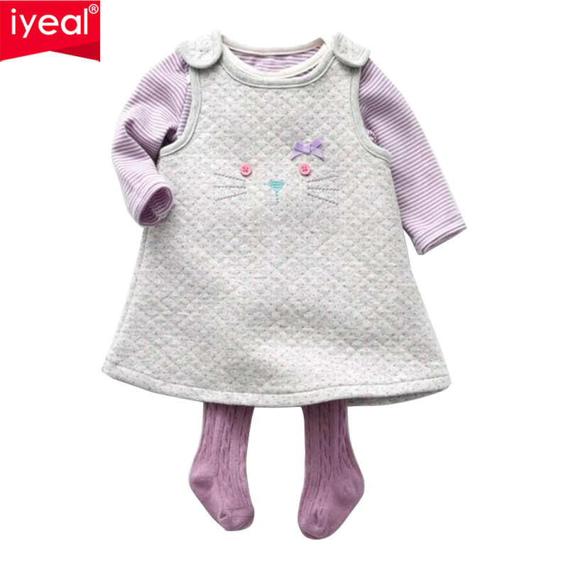 IYEAL Baby Girl Clothes Sets Autumn Infant Warm Vest + Bodysuit + Stockings 3 Pieces Outfits Baby Girl Clothing Suit for 6 24M