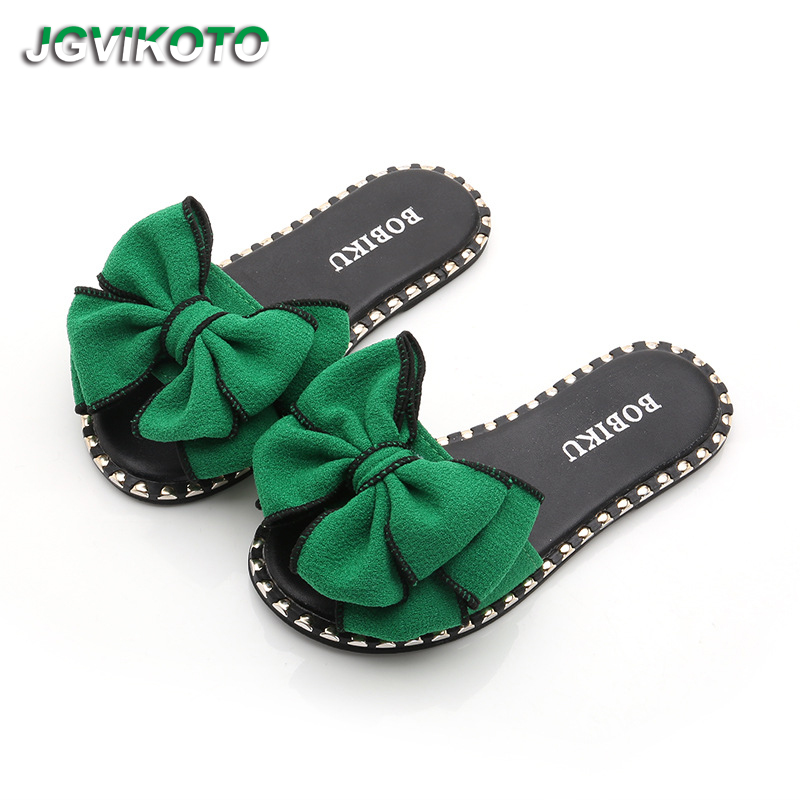 JGVIKOTO Hot Teenagers Summer Sandals Slippers For Big Kids Big Girl  Sandals Children Slides With Bow knot Family Matching Shoes-in Sandals from  Mother ... e8aa70db6d6a