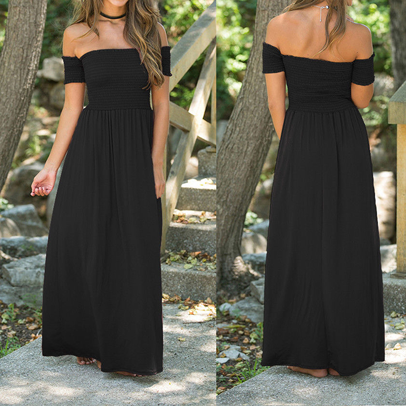 Women Long Maxi Summer Dress Sexy Off Shoulder Loose Beach Boho Long Dresses Casual Vintage Retro Party Medieval Dress Oversized