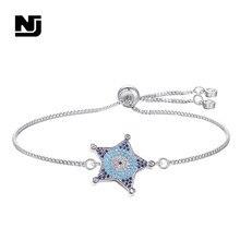 NJ Blue Star Cubic Zirconia Female Bracelet Charming Adjustable Women Silver Chain Jewelry DIY Handmade Gift