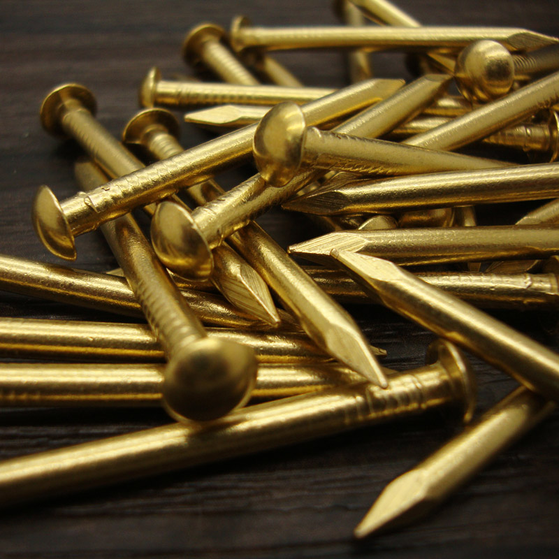 50pcs Fastener Round small copper nail Antique drum Furniture hinge Brass nails 8 10 12 15 18 21 30 35mm Hardware Accessories