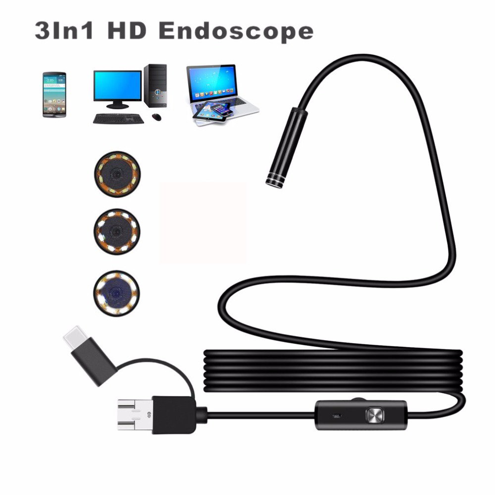 1200P Android PC Endoscope Camera USB Type-C Inspection Endoscope Semi Rigid 1m 2m 3.5m 5m Wire Led Light Borescope Camera