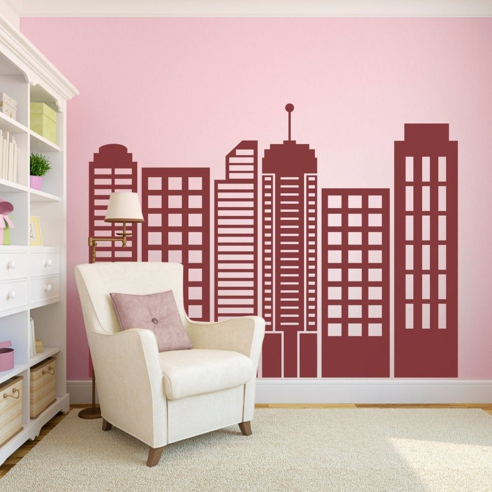 City Skyline Silhouette Wall Sticker Simple Geometric Vinyl Mural