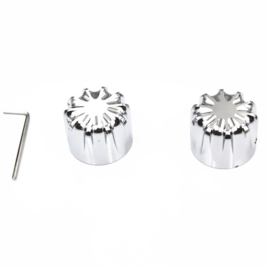 Chrome 29mm CNC Deep Cut Front Axle Nut Cover Bolt For Harley Dyna Softail XG XL Touring