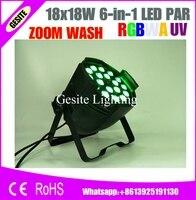 6pcs/Lot ZOOM LED par light 18*18W RGBWA UV 6 in 1 led projector for Dj light stage lighting disco lights event Party