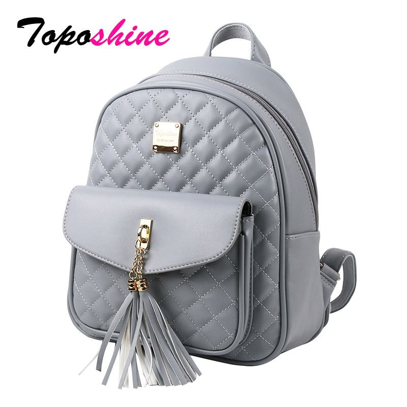 Toposhine 2018 Fashion Women Backpacks Black PU Læder Lady Backpacks Piger Rygsække Populære Cute Ladies School Bags 1743
