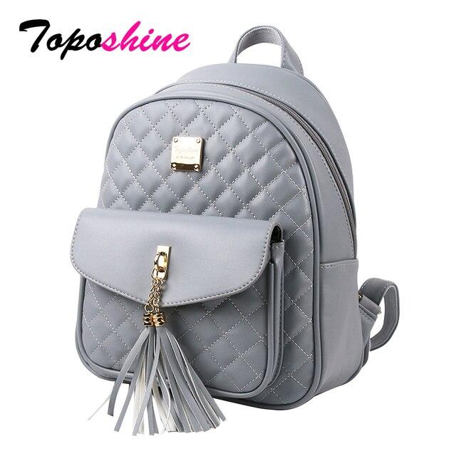 Toposhine 2018 Fashion Women Backpacks Black PU Leather Lady Backpacks  Girls Backpacks Popular Cute Ladies School Bags 1743 42330c0a82193