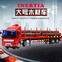 144144 Large size inertial engineering vehicle timber transport truck semi trailer truck children's toy car model 33CM