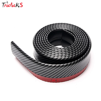 Triclicks New Black Soft Carbon Fiber Lip Rubber Car Bumper Strip 60mm Width 2 5m Length