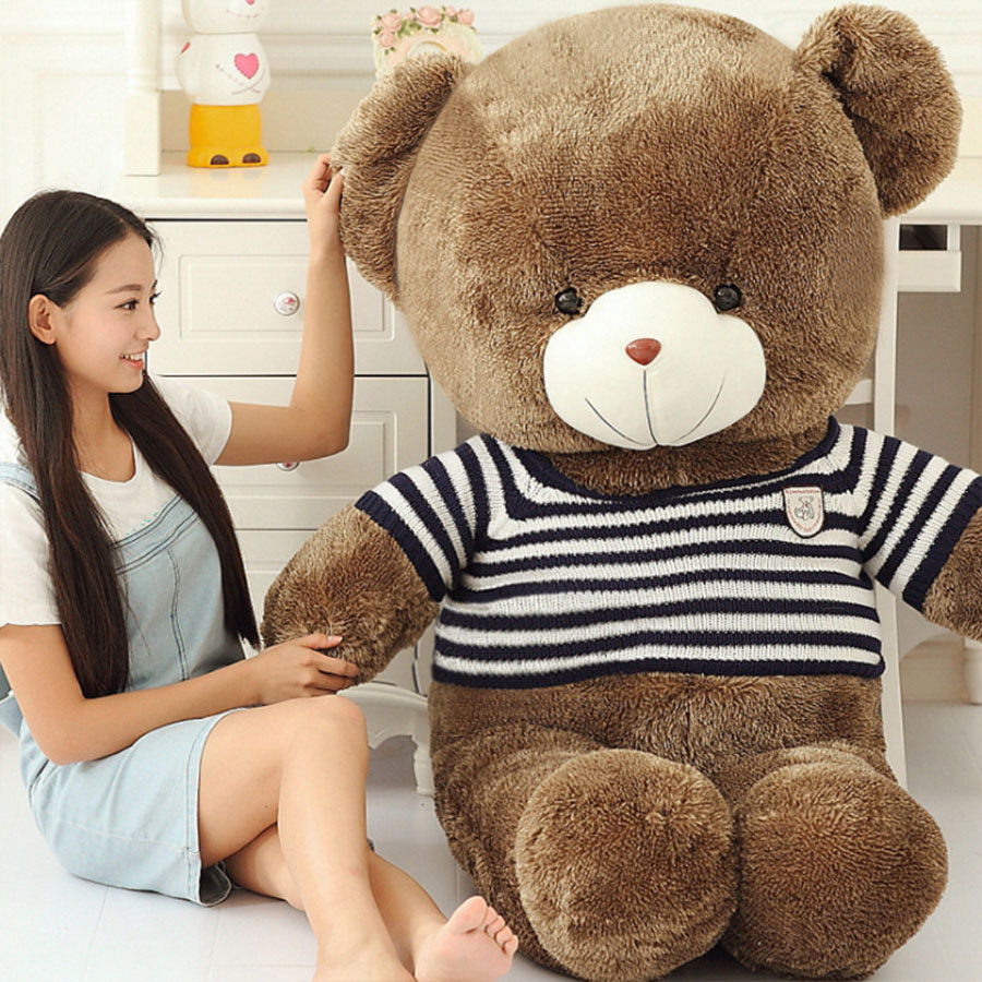 180cm life size large huge Black and White Striped Sweater Teddy Bear big plush stuffed toy dolls kids toys birthday gift fancytrader biggest in the world pluch bear toys real jumbo 134 340cm huge giant plush stuffed bear 2 sizes ft90451
