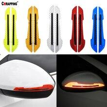 2 uds cinta reflectante de advertencia para coche pegatina espejo retrovisor etiqueta lateral raya vinilo 5 colores opcional decoración DIY estilo de coche