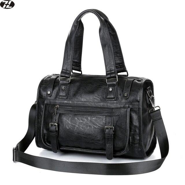 Los hombres de cuero de la vendimia bolsa de viaje de alta calidad bolsa de lona hombre bolsos de mano negro hombres de negocios bolsas de mensajero de crossbody del hombro