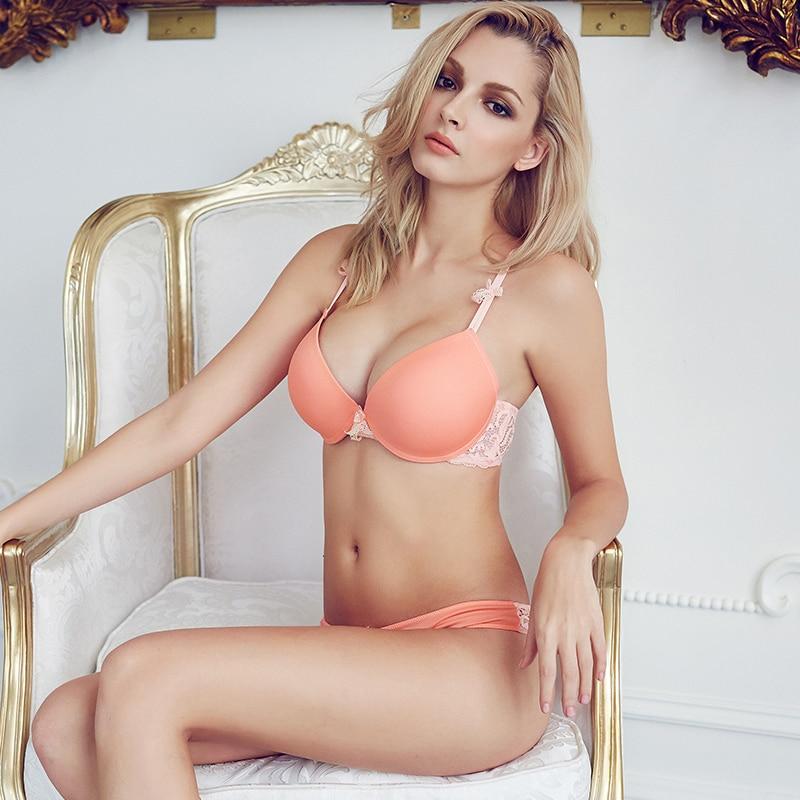 Sexy Elegant Bra and Panty Set Women Bras Underwear Lady push up bra set Lingeries Seamless bra brief set lingerie set B46
