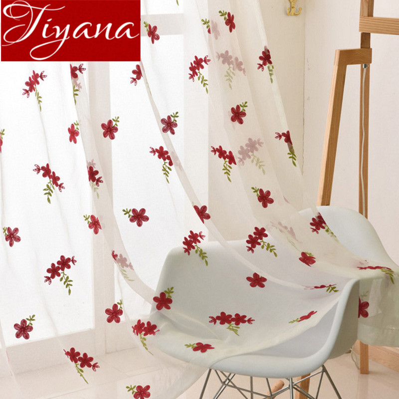 Floral Red Curtains White Embroidered Voile Modern Window Living Room Tulle Curtain Fabrics Sheer Rideaux Cortinas T&261#30