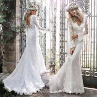 Mermaid Lace long sleeve appliques beading sexy v neck backless Vestido De Noiva 2018 Bridal gown mother of the bride dresses
