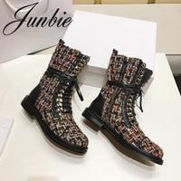 JUNBIE новые туфли из натуральной кожи Braided Gladiator женские сапоги на шнуровке круглый носок на низком каблуке металлической цепочкой женские бо