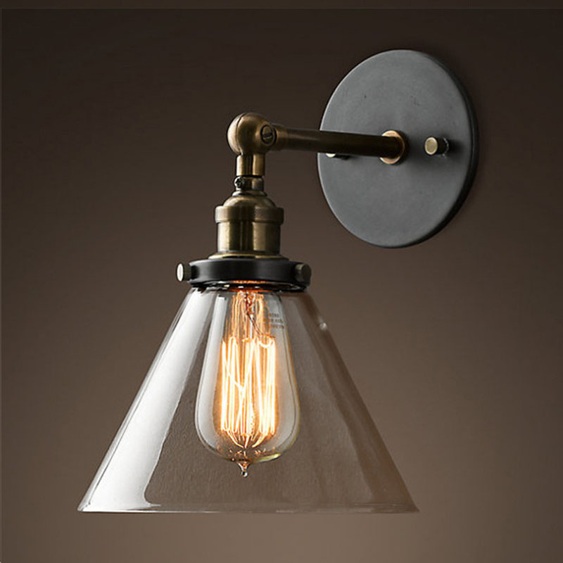 industrial vintage wall lamp ac90260v retro wall light edison glass shade loft coffee bar