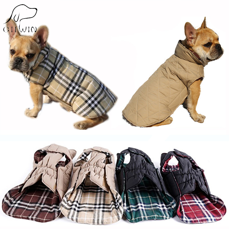 [GIIWIN] Reversible Pet Dog Clothes Winter Coats Jackets for Small Large Dogs Cat Clothing Warm Striped Winter Costume KP0001