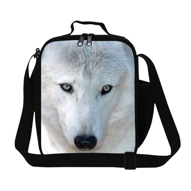 Insulated Wolf Print Lunch Bag Children Bolsa Lancheira Termica Food Bag Portable Picnic Lunch Carry Bag Lunch Box For Kids