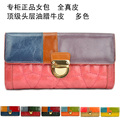 Quality brand female wallet genuine leather wallet plaid sewing thread vintage color block wax decoration cowhide wallet