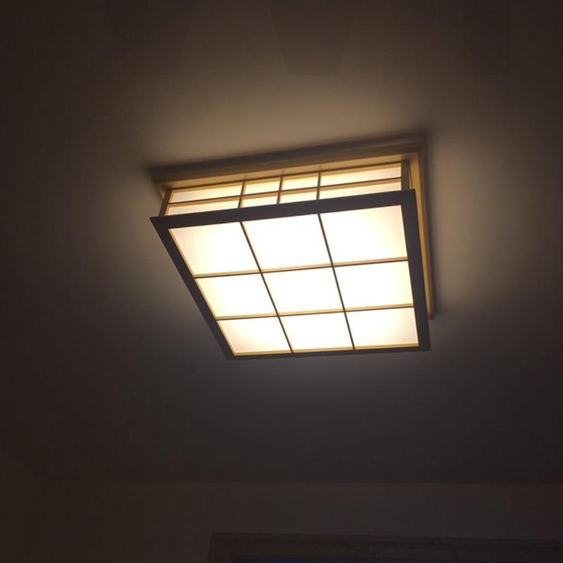 Willlustr светодиодный потолочный светильник из дерева, японский Деревянный светильник для отеля, дома, столовой, спальни, ресторана, акриловая панель осветительная потолочная - 5