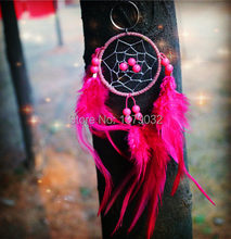 Nova moda originalidade hot rose red Feather Pingente Estilo Indiano Dream Catcher Dreamcatcher Sinos de Vento Presente do anel chave(China)