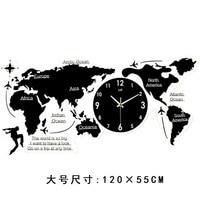 Nordic simple acrylic wall clock, creative world map clock, European living room silent clock.