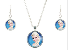 2015 Silver Elsa girls glass jewelry set  friendship pendant bijoux  summer style movie necklace earrings  jewelry CS-71