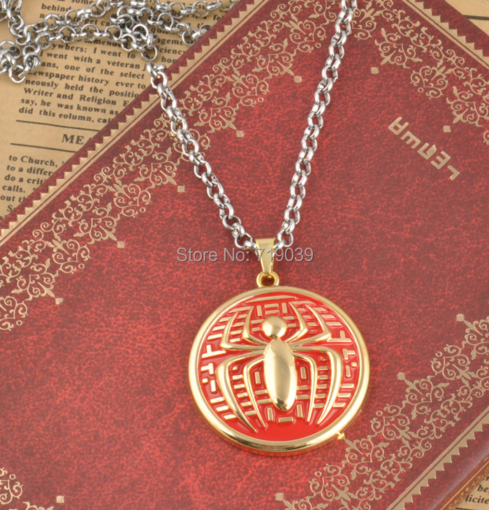 Free shipping 20pcs/lot wholesale. The America and Europe popular <font><b>Spider-man</b></font> <font><b>shield</b></font> logo seiko version of the necklace.