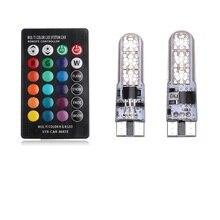 2 шт. Габаритные фонари для автомобиля ширина света Источник Multi-Цвет 5050 RGB светодио дный T10 W5W салона причудливые купола Читать лампа удаленного