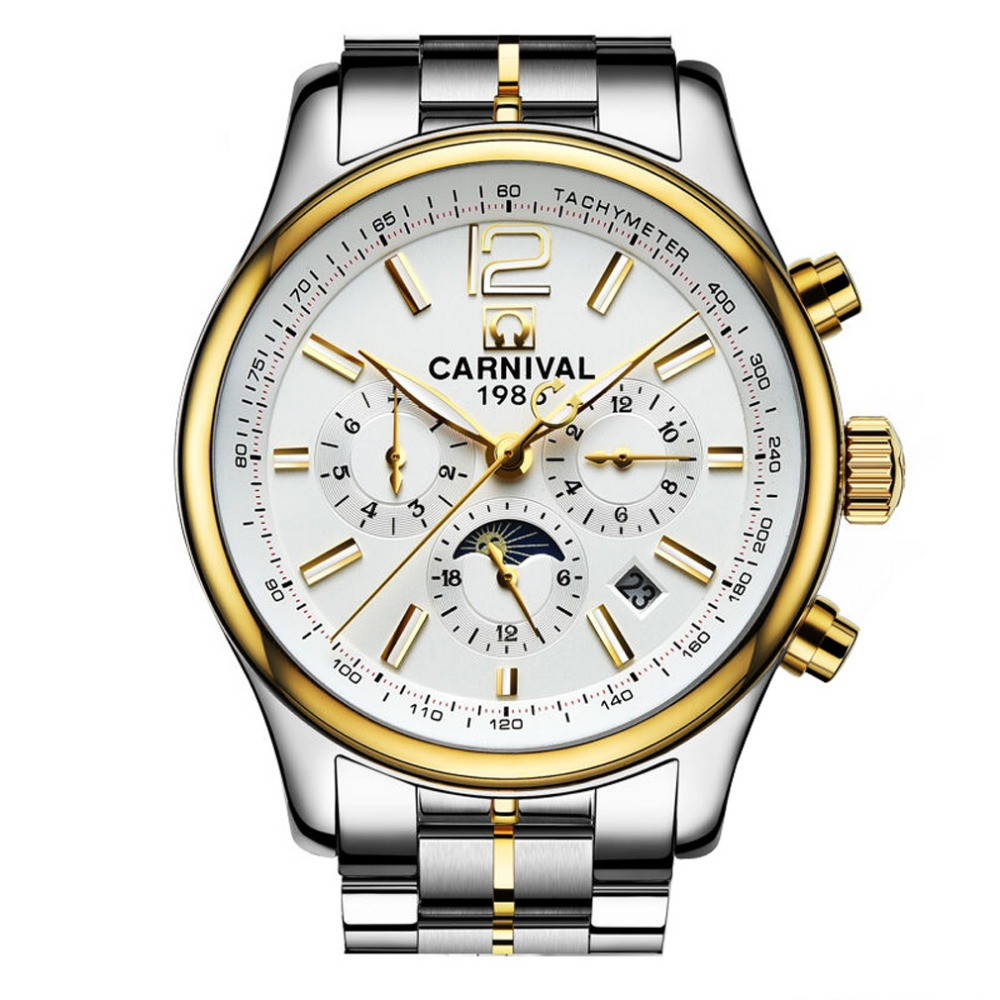 Carnival Mens Multifunction Dial Steel Watchband Automatic Mechanical Watch Wristwatch - gold bezel white dial new 7 inch for samsung galaxy tab 3 t210 sm t210 tab3 lcd touch screen lens glass outer front panel free shipping