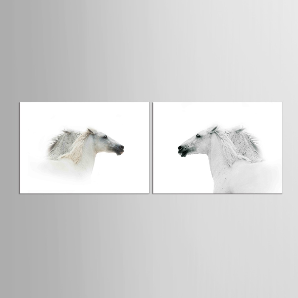 2 Panel White Horse Wall Pictures For Living Room Home Office Decor Modern Horses Paintings Animal
