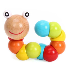 DIY Baby Kids Twist Caterpillar Wooden Toy Infant Educational Developmental Gift